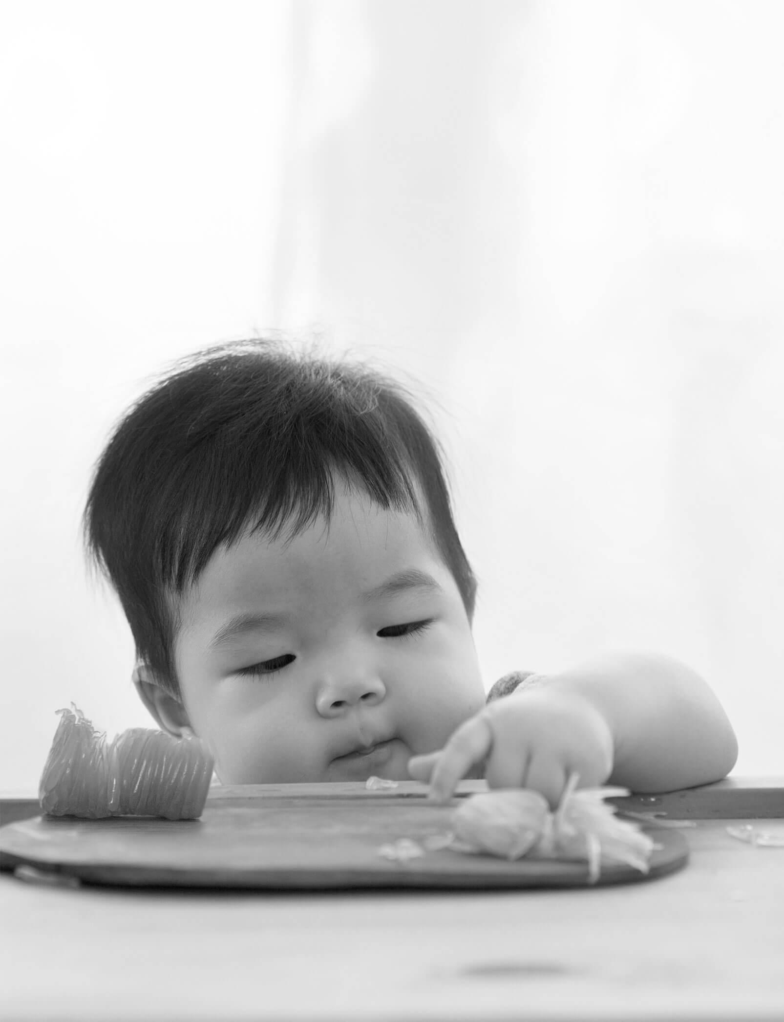 Baby sneaking food